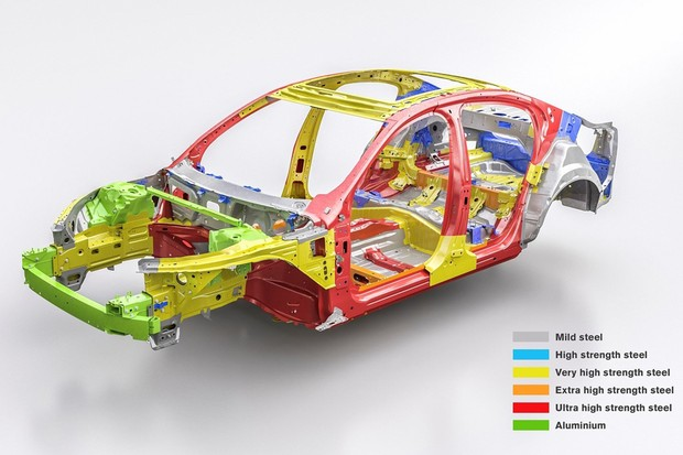 Estrutura tem aços de ultra (vermelho), extra (laranja) e alta resistência (amarelo)   (Foto: Divulgação)