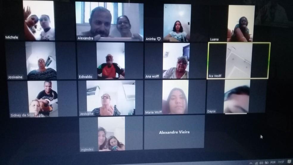 Família de SP se juntou em videoconferência para cantar parabéns pelos 75 anos da avó — Foto: Arquivo pessoal