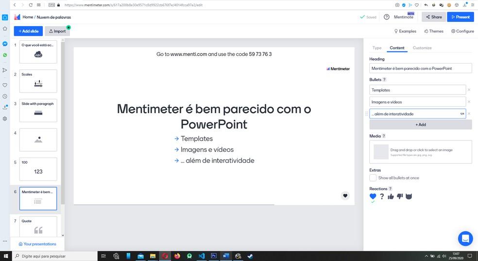 Processo de criação de apresentações lembra bastante o fluxo do PowerPoint — Foto: Reprodução/Filipe Garrett