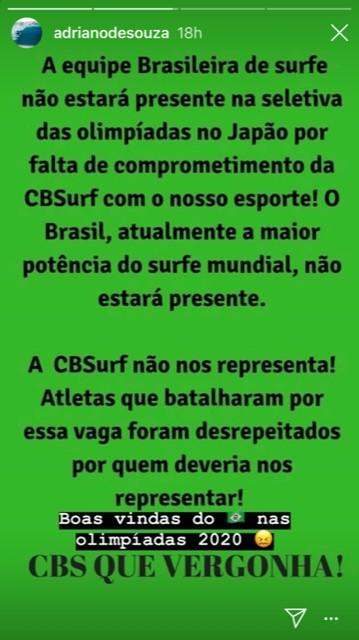 Adriano de Souza critica a CBSurf nas redes sociais
