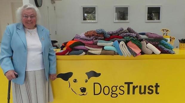 Maisie Green, britânica que doa cobertores e roupas para cães de abrigos (Foto: Reprodução)