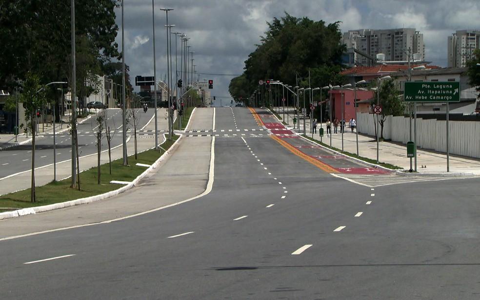 Prolongamento da Avenida Chucri Zaidan, na Zona Sul de São Paulo (Foto: TV Globo/Reprodução)
