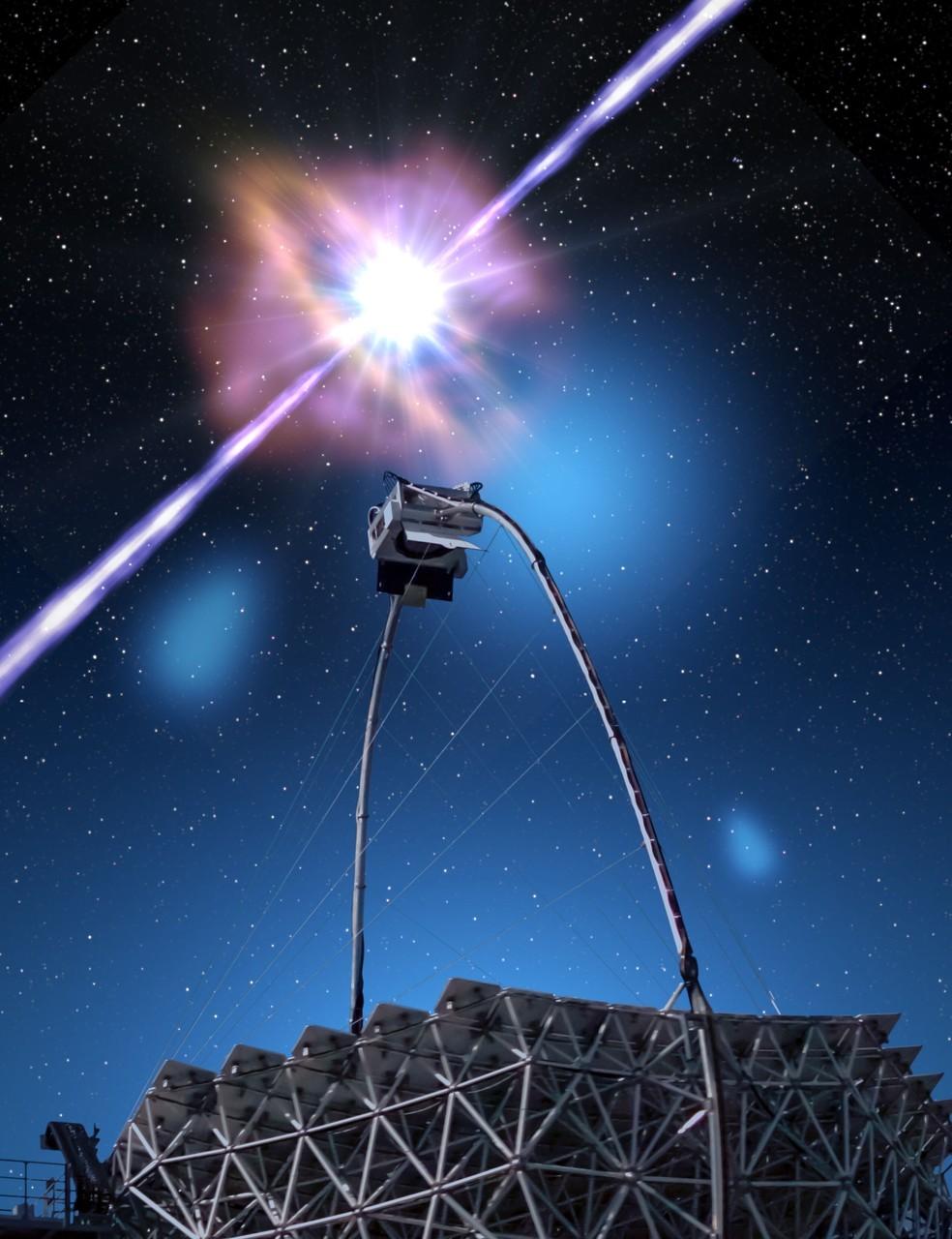 Concepção artística de um telescópio Magic com detecção de luz de raios gama — Foto: Gabriel Pérez Díaz/IAC