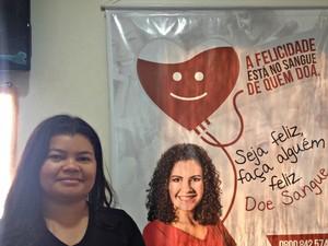 Ana Kézia veio de Jaci-Paraná para doar sangue pela 1 vez em Porto Velho (Foto: Hosana Morais/G1)