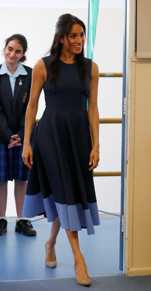 SYDNEY, AUSTRALIA - OCTOBER 19: Meghan, Duchess of Sussex visits Macarthur Girls High School on October 19, 2018 in Sydney, Australia. The Duke and Duchess of Sussex are on their official 16-day Autumn tour visiting cities in Australia, Fiji, Tonga and Ne (Foto: Getty Images)