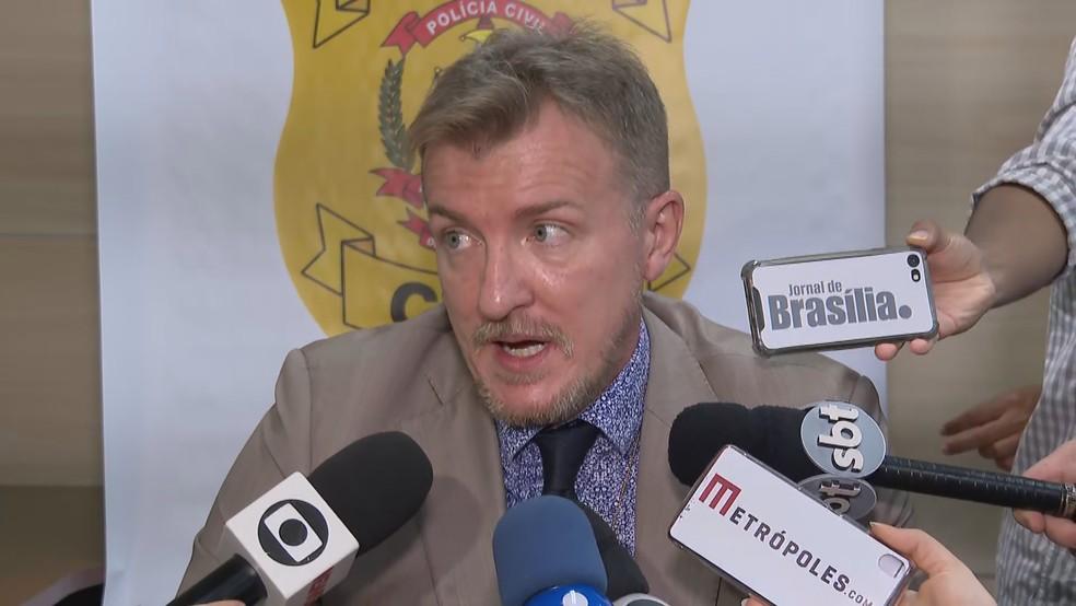 O delegado Anderson Cavichioli, da 18ª DP em Brasília — Foto: TV Globo/Reprodução