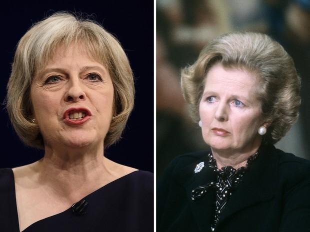 Fotos mostram a nova premiê Theresa May e a 'Dama de Ferro' Margaret Thatcher, primeira-ministra que deixou o cargo em 1990 (Foto: Leon Neal e Gabriel Duval/AFP)