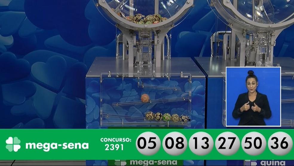 Números sorteados no concurso 2.391 da Mega Sena — Foto: Reprodução/Facebook/CEF
