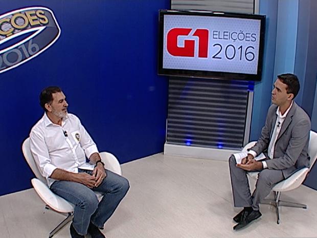 Candidato à Prefeitura de Caruaru, Tony Gel, do PMDB, foi entrevistado pelo G1 (Foto: Reprodução/G1)