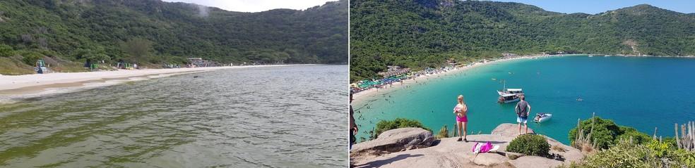 Praia do Forno foi uma das que teve a coloração da água alterada — Foto: Guarda Ambiental Marítima/Divulgação (foto 1) e Rodrigo Marinho/G1 (foto 2)