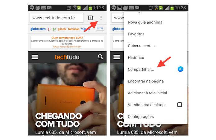 Acessando as opções de compartilhamento do Chrome para Android (Foto: Reprodução/Marvin Costa)