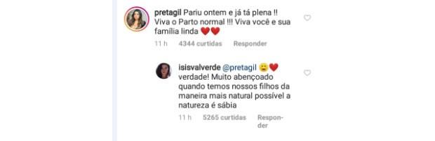 Preta Gil também elogiou (Foto: Reprodução/Instagram)
