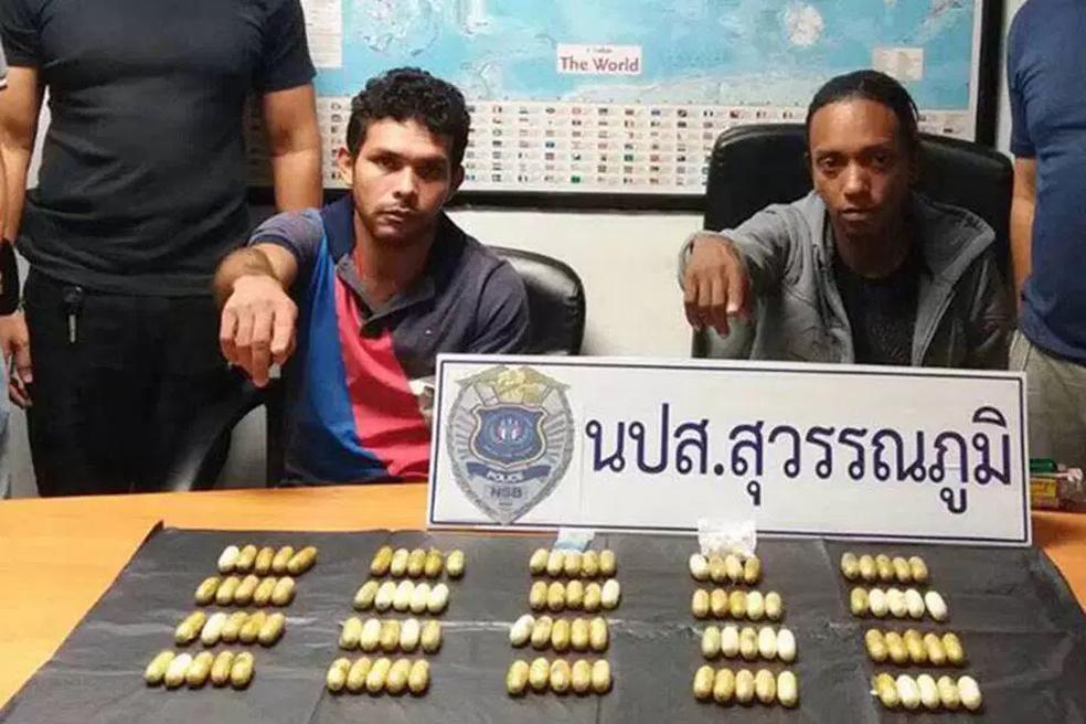 Brasileiros presos na Tailândia por tráfico de drogas (Foto: Reprodução/Narcotics Suppression Bureau)