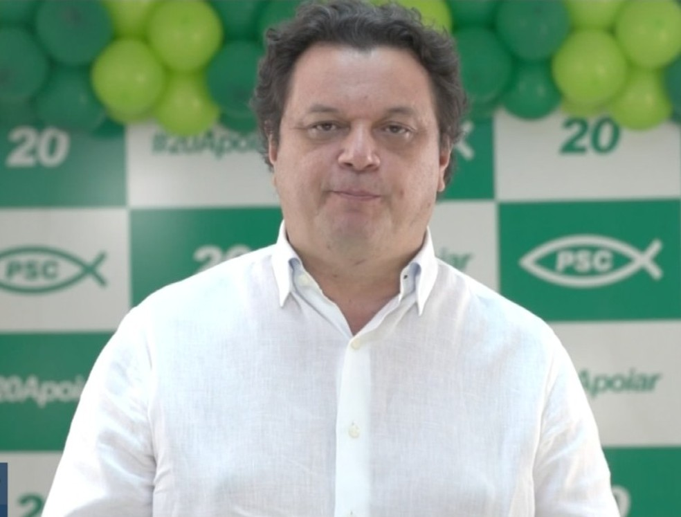 Convenção do PSC oficializou o nome de Paulo Matos à Prefeitura de Campo Grande — Foto: Redes Sociais/Reprodução