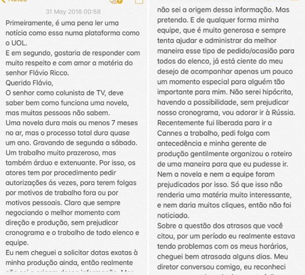 Primeira parte do texto de Bruna Marquezine (Foto: Reprodução/Twitter)