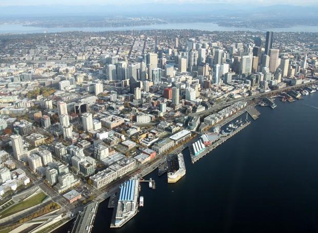Foto aérea de Seattle, nos Estados Unidos (Foto: Wikimedia Commons / Jelson25 )