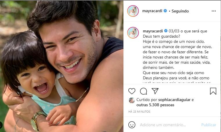 Mayra Cardi homenageia Arthur Aguiar (Foto: Reprodução/Instagram)