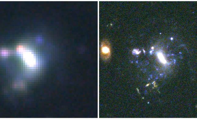 Comparação entre as imagens da mesma galáxia obtidas com o telescópio Subaru, de 8 metros, no Havaí (à esquerda) e o telescópio espacial Hubble, de 2,4 metros, à direita.
