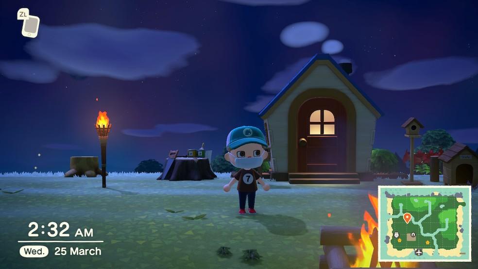 A hora em Animal Crossing é em tempo real — Foto: Reprodução/Felipe Vinha