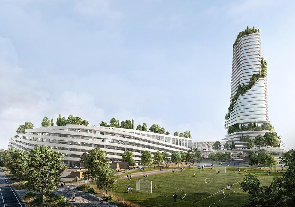 Projetos preveem revitalização da área ao redor do San Siro ao custo total de 1,2 bilhão de euros, incluindo o novo estádio — Foto: Divulgação