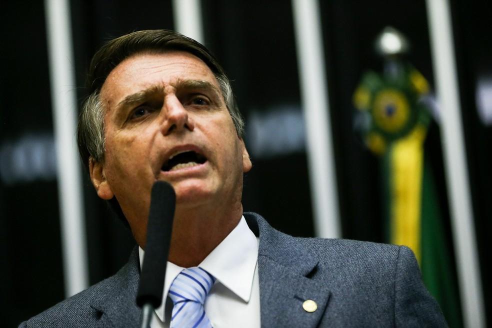 Jair Bolsonaro durante discurso na Câmara (Foto: Marcelo Camargo/Agência Brasil)