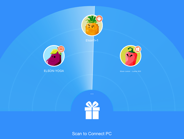 Shareit pode detectar dispositivos próximos para transferir fotos e outros arquivos (Foto: Reprodução/Elson de Souza)