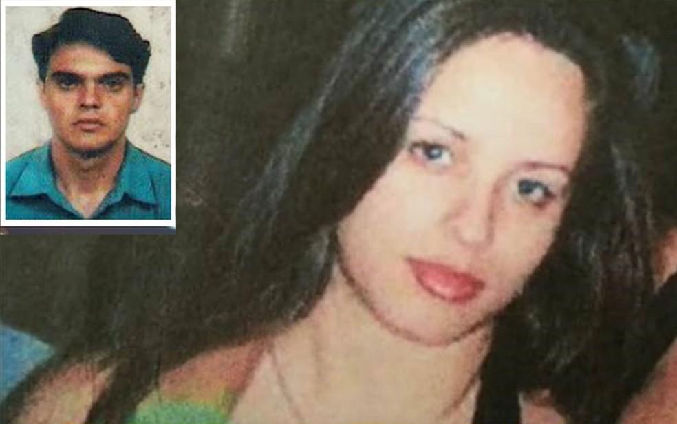 Andressa Araújo é acusada de matar o marido, Sérgio Fernandes (no detalhe), com um tiro na nuca enquanto ele dormia — Foto: Reprodução/Arquivo pessoal