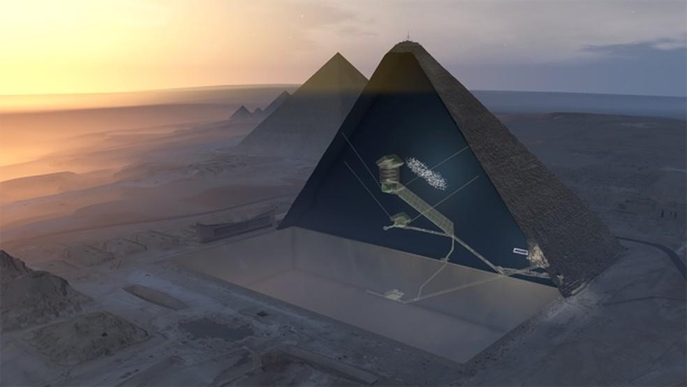 Ilustração em 3D mostra a pirâmide e a localização do espaço encontrado. Ainda não se sabe o porquê do espaço existir (Foto: ScanPyramids via Nature)