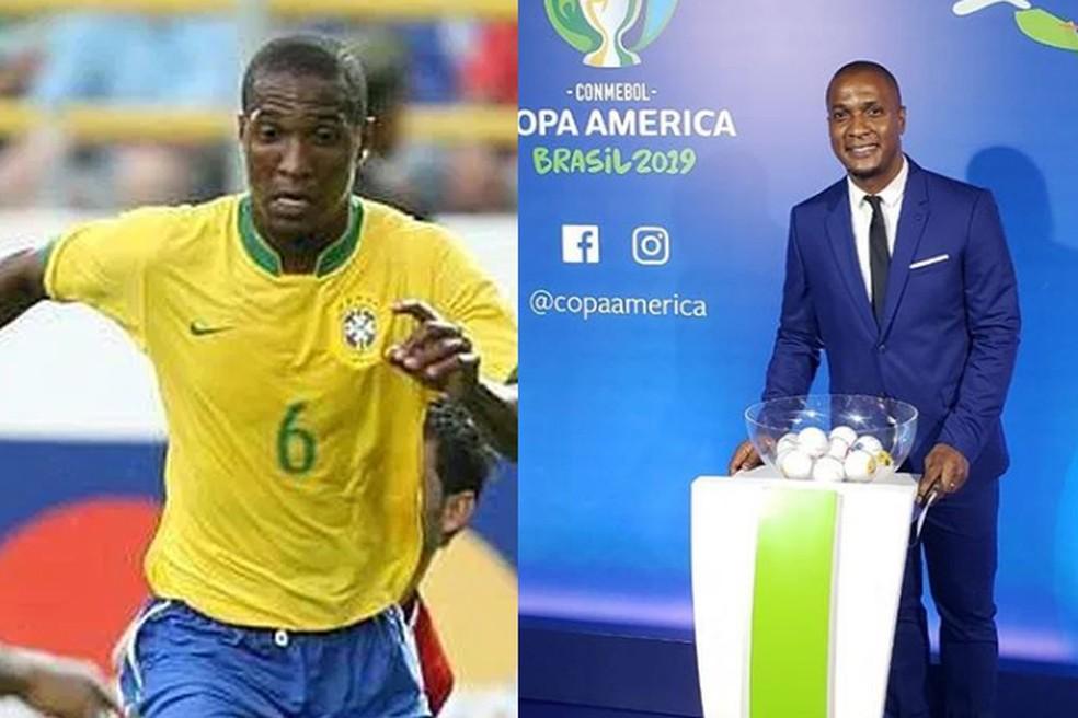 Gilberto durante a Copa América de 2007 e no sorteio para a edição de 2019 — Foto: Divulgação / CBF / Reprodução / Instagram