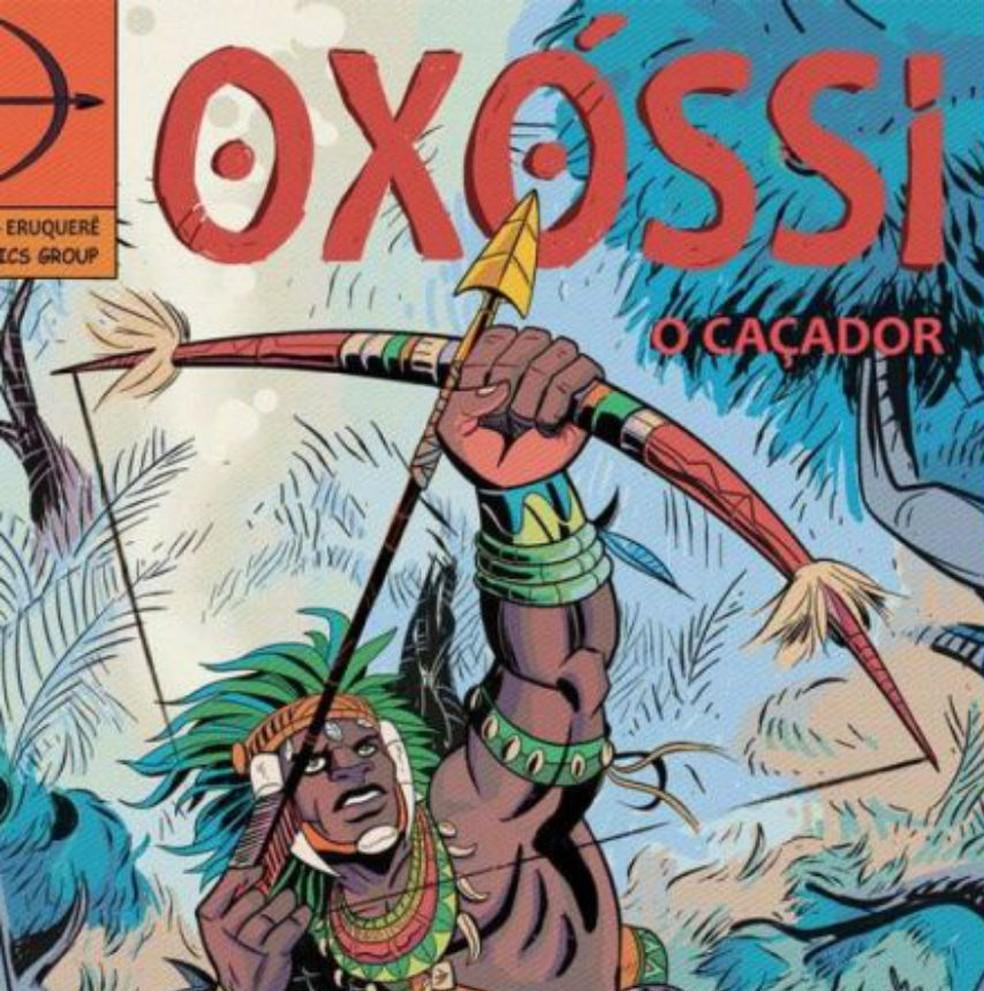 Oxóssi retratado em HQ de Hugo Canuto — Foto: Hugo Canuto/Reprodução