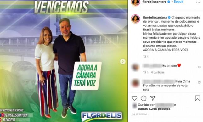 Flordelis comemora vitória de Arthur Lira