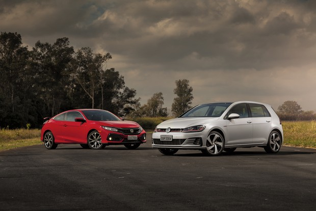 Novo Honda Civic Si encara o reestilizado VW Golf GTI (Foto: Leo Sposito/Autoesporte)