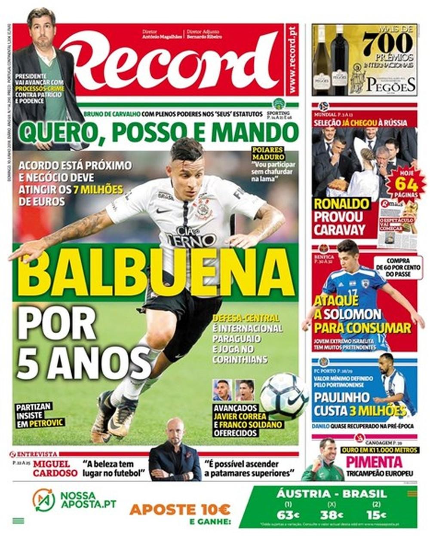 Jornal confunde Balbuena por Guilherme Arana ao falar sobre a negociação do zagueiro com o futebol português