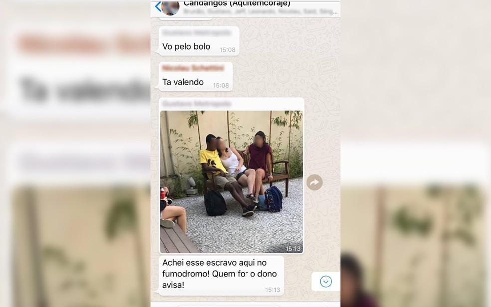 Foto compartilhada por aluno da FGV; ele foi acusado de racismo e suspenso da faculdade (Foto: Reprodução/Redes sociais)