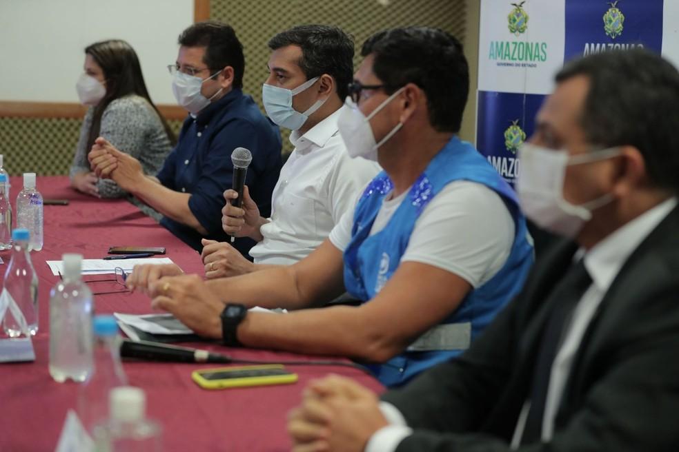 Secretário da Saúde Marcellus Campêlo e governador Wilson Lima foram alvos da operação.  — Foto: Divulgação