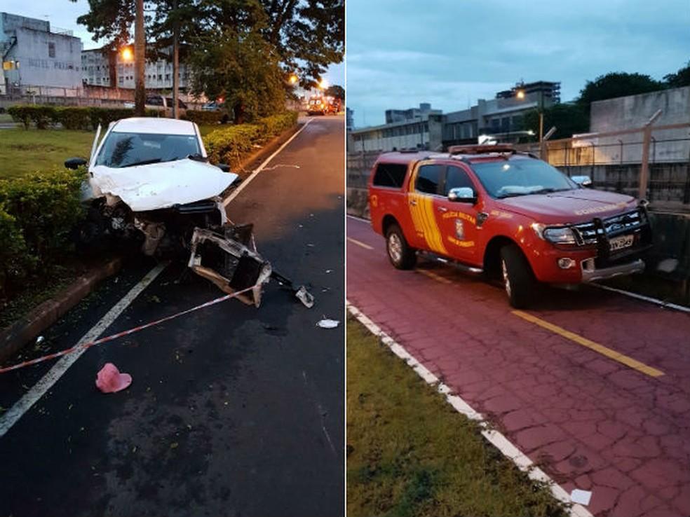 Acidente aconteceu na manhã deste sábado (13), em Maringá  (Foto: Divulgação/Bombeiros )
