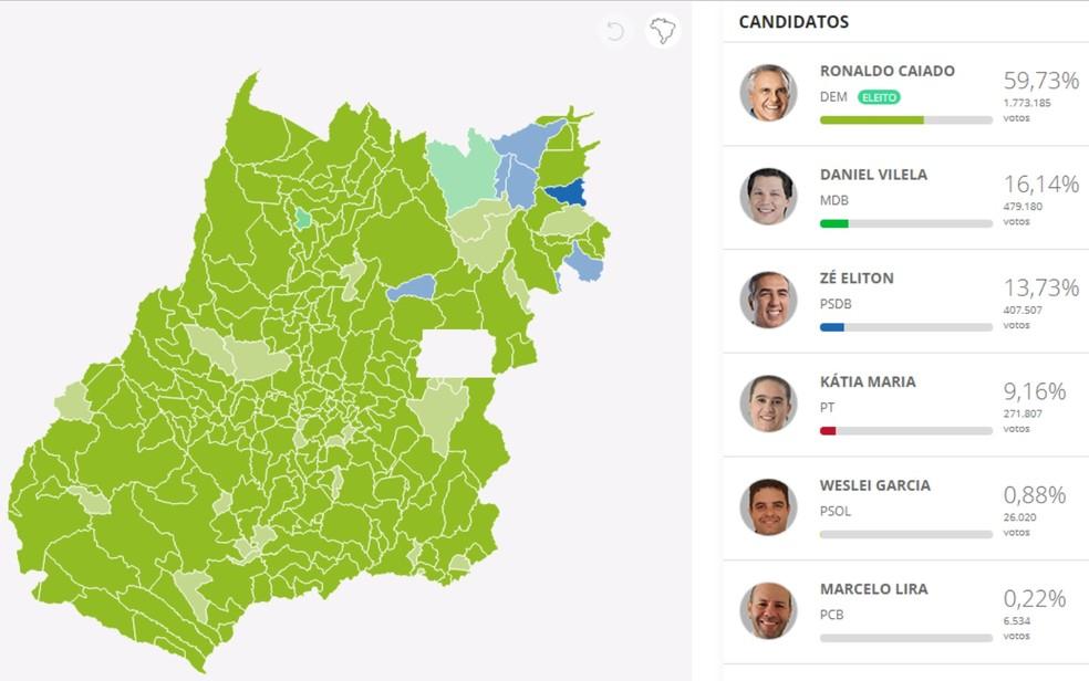 Votos para governador em Goiás — Foto: Reprodução/G1