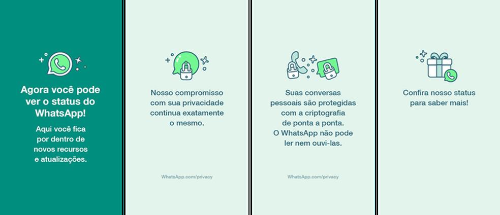 Informações publicadas no Status do WhatsApp — Foto: Divulgação
