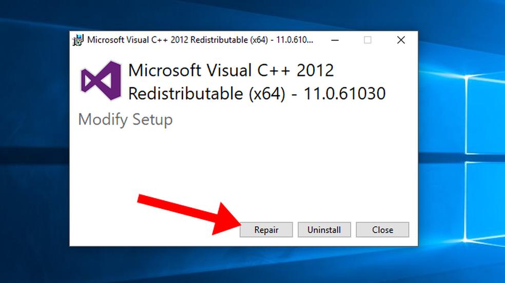 Repare o Visual C++ Redistributable for Visual Studio 2012 (Foto: Reprodução/Paulo Alves)