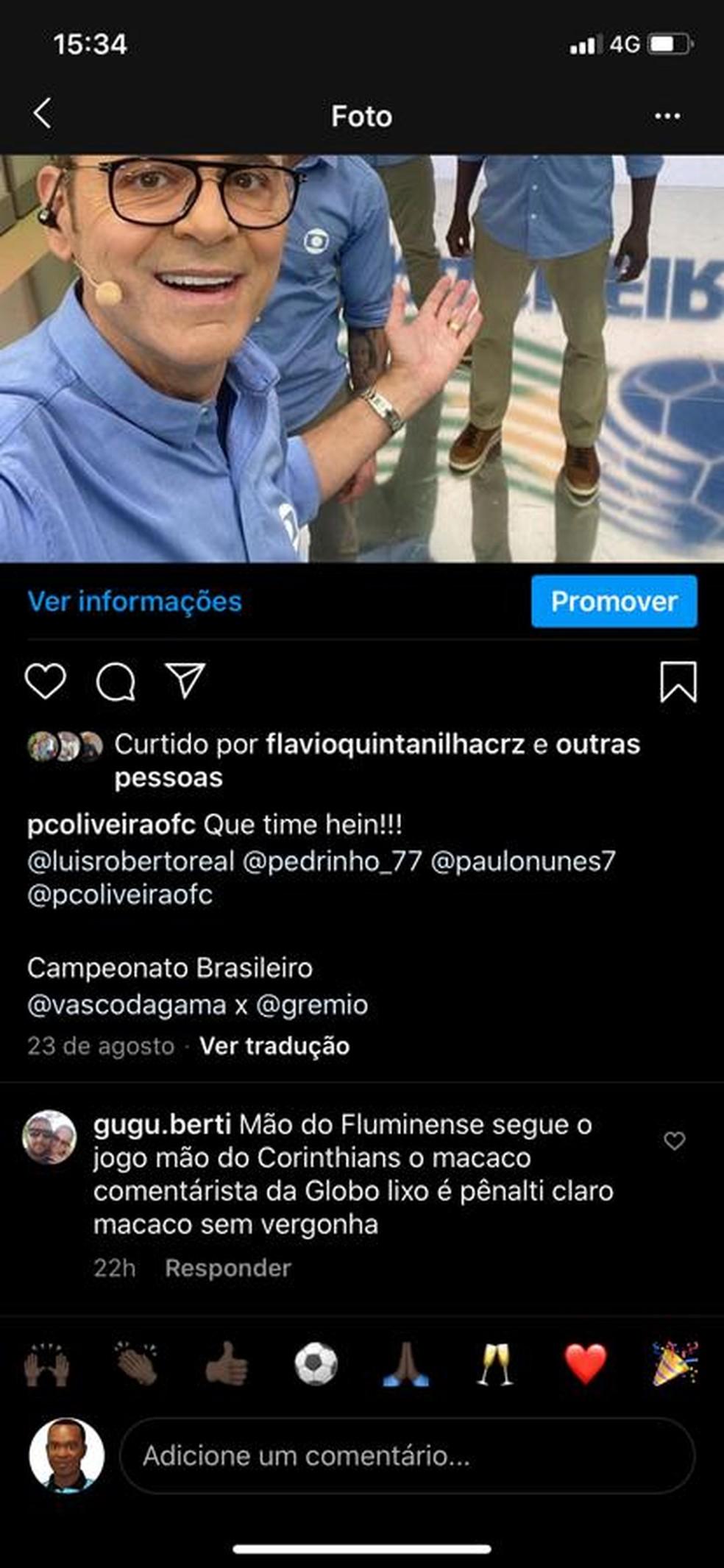 Print de comentário racista no perfil de Paulo César de Oliveira — Foto: Reprodução
