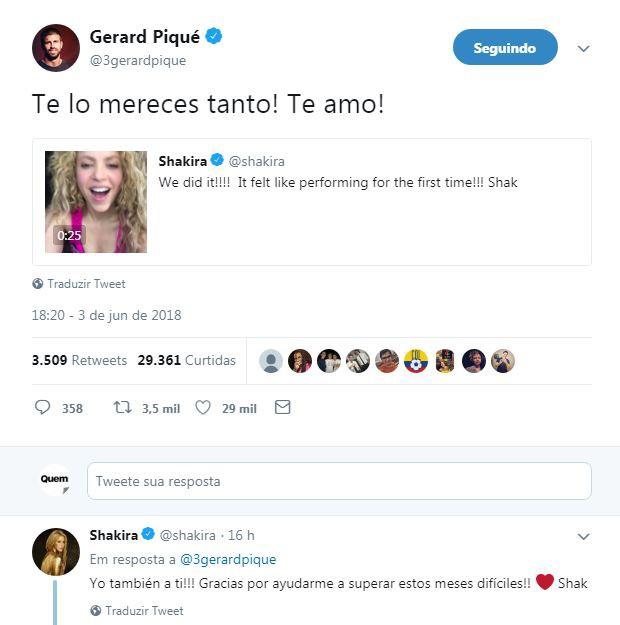 Gerard Piqué e Shakira (Foto: Reprodução / Twitter)