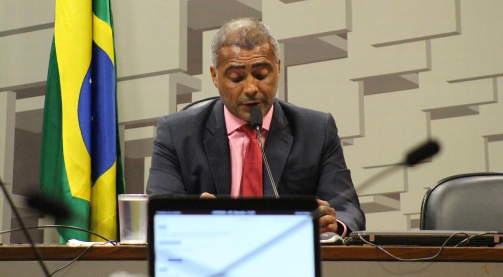 Romário presidiu a CPI do Futebol no Senado (Foto: Lucas Magalhães)