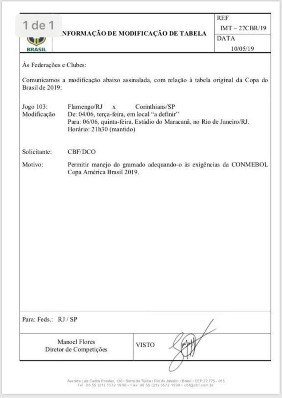 Documento Flamengo Corinthians — Foto: Reprodução