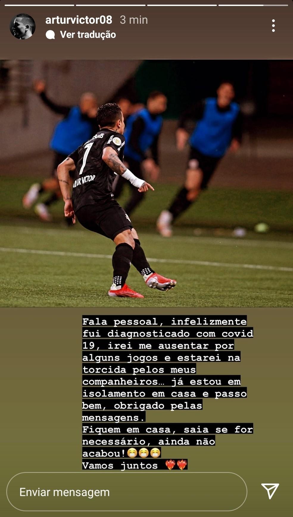 Artur, do Bragantino, faz publicação após ser diagnosticado com Covid-19 — Foto: Reprodução/Instagram