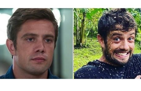 Rafael Cardoso como o Renzo de 'Salve-se quem puder' e, à direita, com o visual da quarentena Reprodução