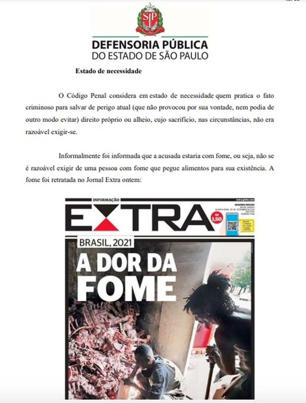 Defensoria anexa capa do Jornal Extra ao pedido de soltura de mulher acusada de furtar alimentos para comer em São Paulo. — Foto: Reprodução