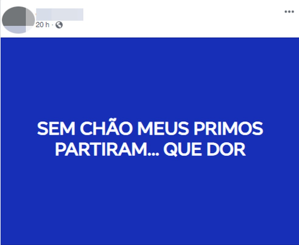Primo fez postagem nas redes sociais lamentando o ocorrido em Praia Grande, SP — Foto: Reprodução/Facebook