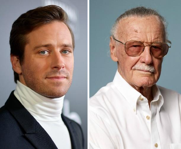 O ator Armie Hammer e o quadrinista Stan Lee (Foto: Getty Images)
