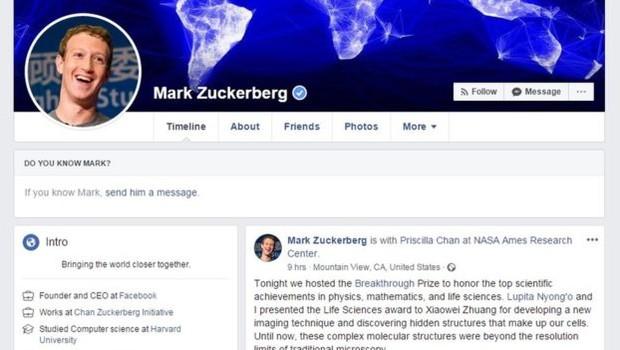 Zuckerberg não permite que pessoas lhe enviem solicitações de amizade (Foto: Mark Zuckerberg/Facebook via BBC)
