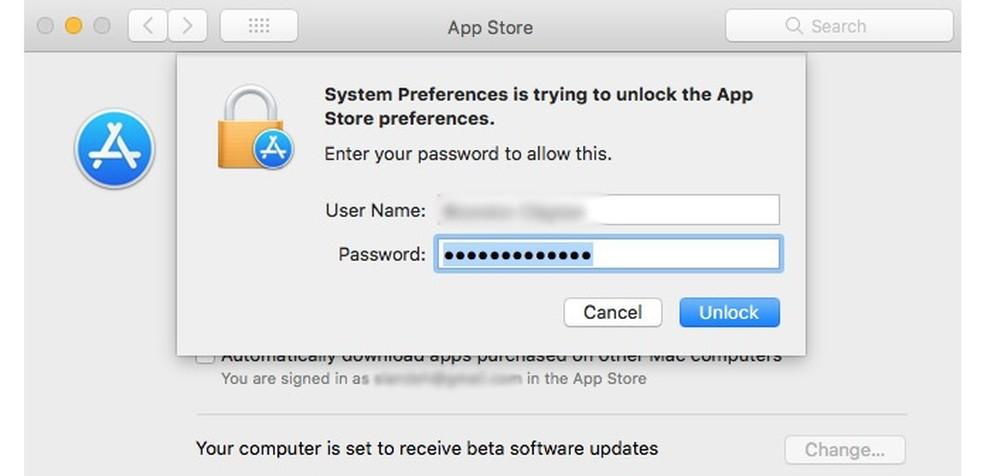 É preciso saber o usuário correto, mas qualquer password libera o acesso  (Foto: MacRumors)